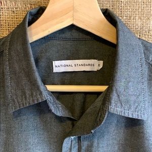 National Standards grey 💯% cotton button down